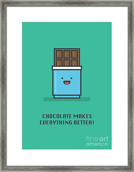 Chocolate Makes Everything Better Line Framed Print