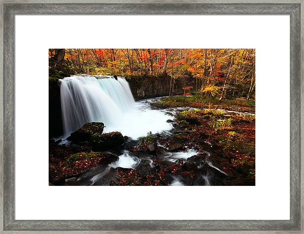 Choushi - Ootaki Waterfall In Autumn Framed Print