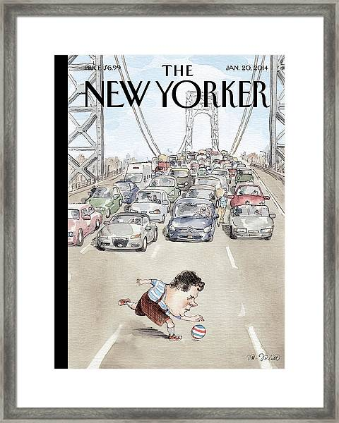 Playing In Traffic Framed Print by Barry Blitt