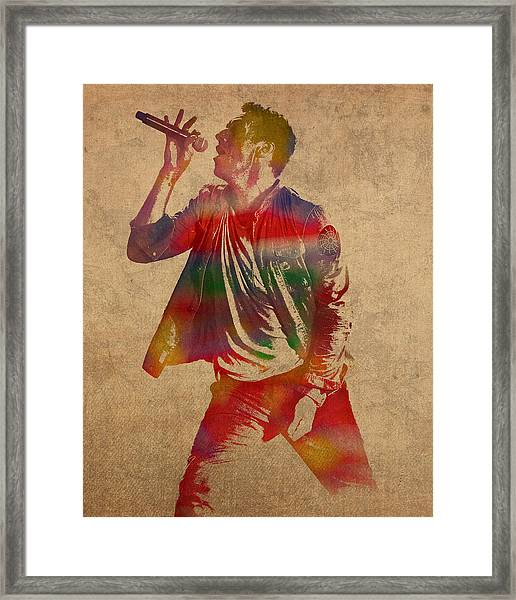 Chris Martin Coldplay Watercolor Portrait On Worn Distressed Canvas Framed Print