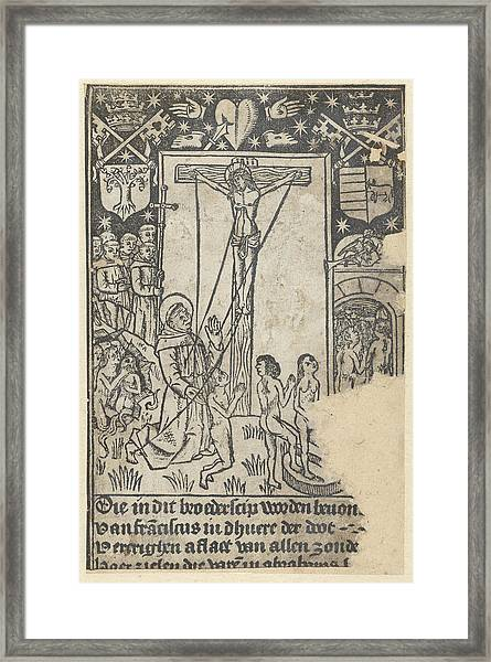 Christ On The Cross With St Framed Print