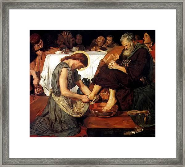 Christ Washing Peter's Feet Framed Print
