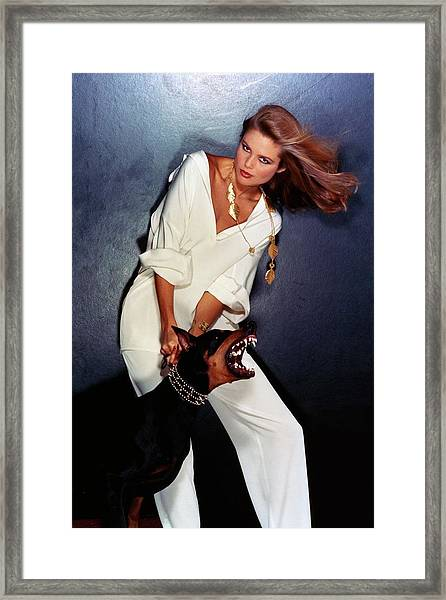 Christie Brinkley Wearing Geoffrey Beene Pajamas Framed Print