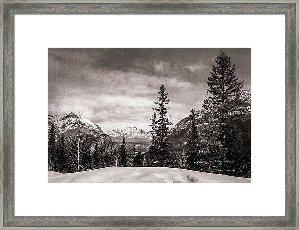 Christmas Day In Banff Bw Framed Print