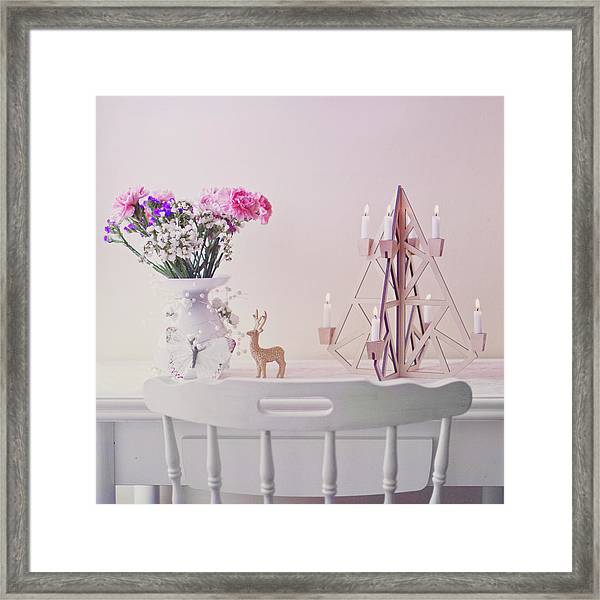 Christmas Decorated Table Framed Print by Julia Davila-lampe