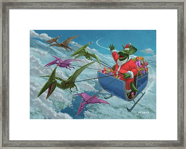 Christmas Dinosaur Santa Ride Framed Print