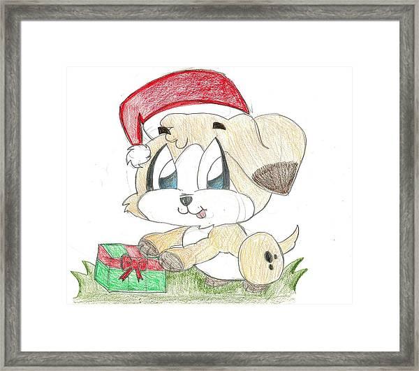 Christmas Puppy Framed Print by Raquel Chaupiz