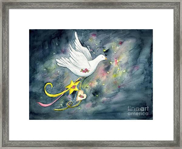 Christmas Dove In Flight Framed Print