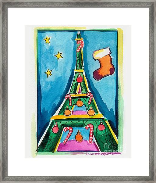 Christmas Eiffel Tower Painting Framed Print
