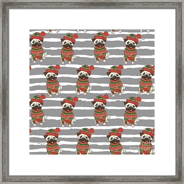 Christmas Holidays Seamless Vector Framed Print by Nikolaeva