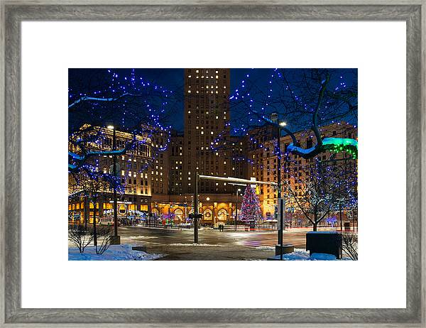 Christmas In Downtown Cleveland Framed Print
