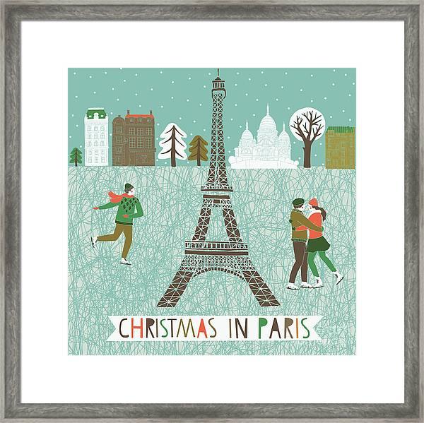 Christmas In Paris Print Design Framed Print
