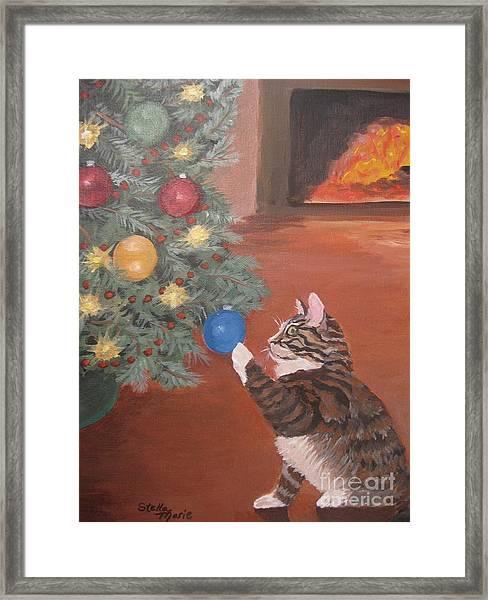 Christmas Kitty Cat Framed Print
