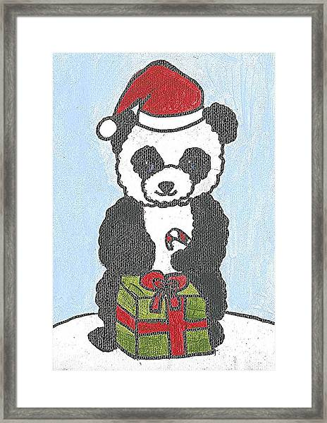 Christmas Panda Framed Print by Fred Hanna