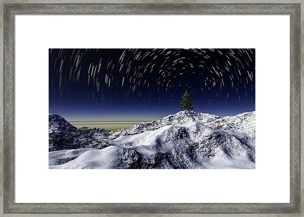 Christmas Tree And Star Trails Framed Print