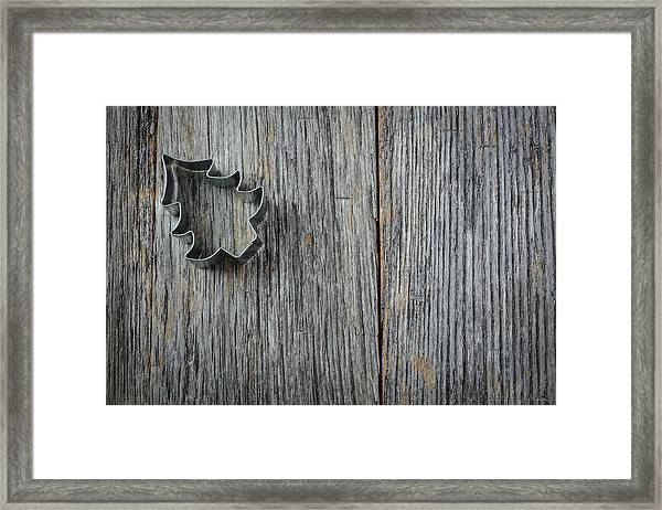 Christmas Tree Cookie Cutter On Rustic Wood Background Framed Print