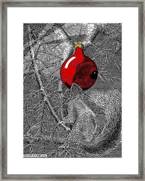 Christmas Tree Squirrel With Red Ornament Framed Print