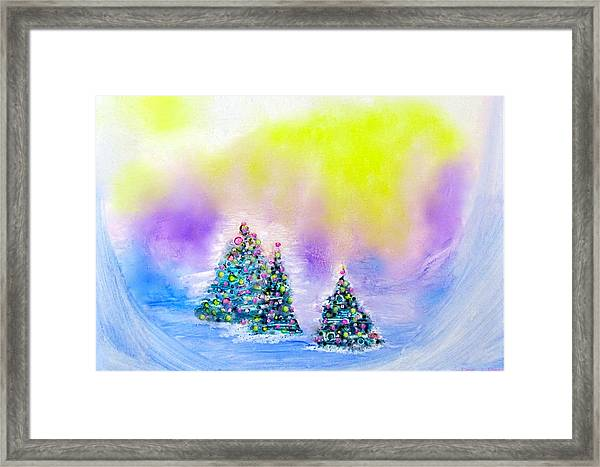 Christmas Trees In The  Valley - Alcohol Inks In Pastel Framed Print