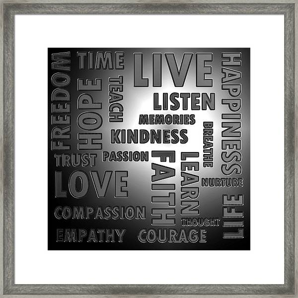 Chrome Words Framed Print by Sharon Lisa Clarke