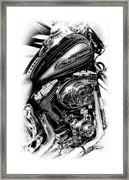 Chromed Harley Monochrome Framed Print