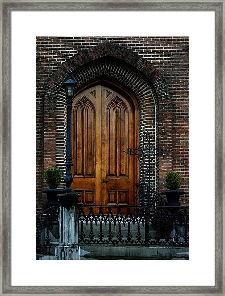 Church Arch And Wooden Door Architecture Framed Print