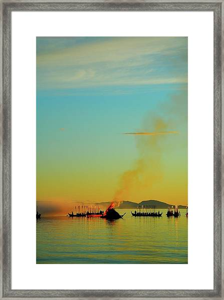 Church Boats On The Lake Siljan Framed Print by Anders Ludvigson