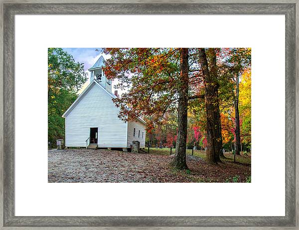 Church In Fall Framed Print
