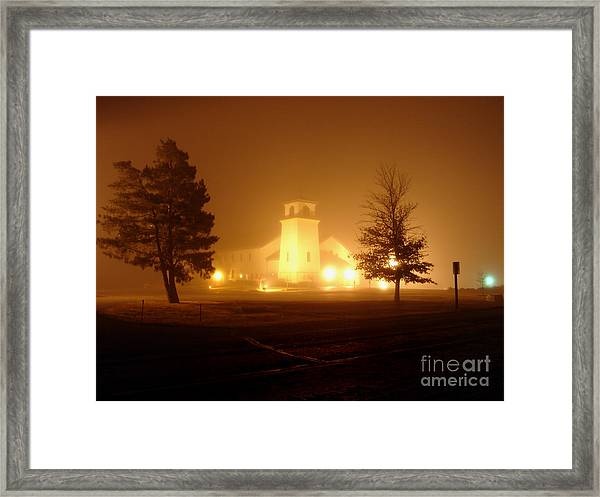 Church In The Fog Framed Print