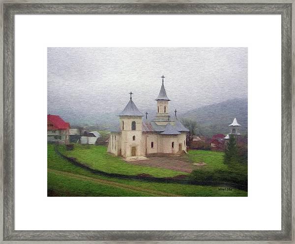 Church In The Mist Framed Print