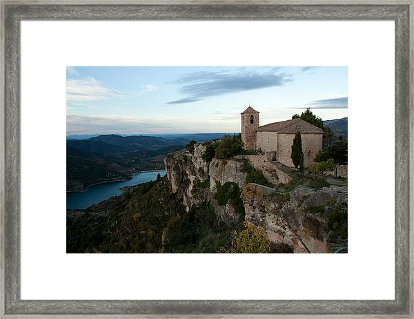 Church On Cliff By River Framed Print by David Oliete