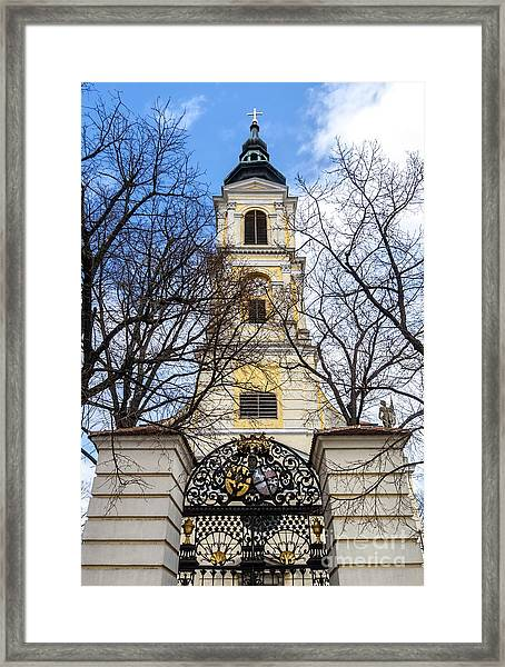 Church Tower With Wrought Iron Gate  Grossweikersdorf Austria Framed Print