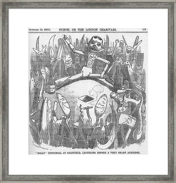 Churchill Lecturing Cartoon Framed Print