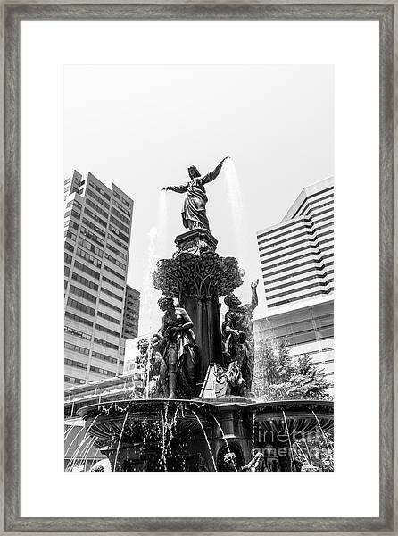 Cincinnati Fountain Black And White Picture Framed Print by Paul Velgos