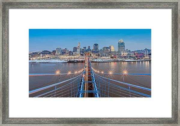 Cincinnati From On Top Of The Bridge Framed Print