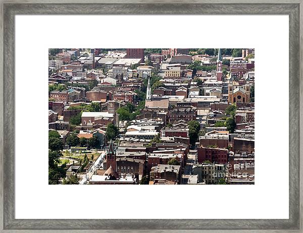 Cincinnati Over The Rhine Neighborhood Aerial Photo Framed Print by Paul Velgos