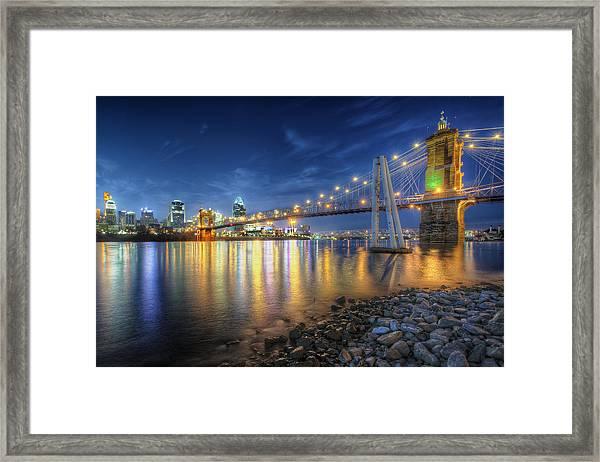 Cincinnati Skyline And Bridge At Night Framed Print