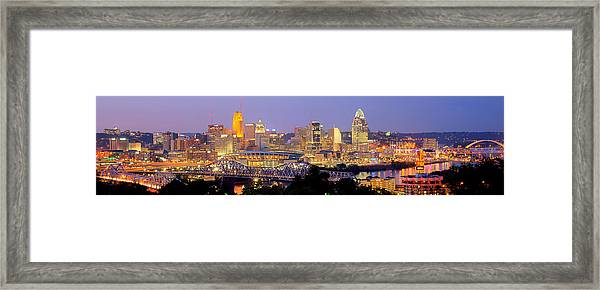 Cincinnati Skyline At Dusk Sunset Color Panorama Ohio Framed Print
