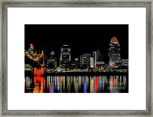 Framed Print featuring the photograph Cincinnati Skyline Dreams 3 by Mel Steinhauer