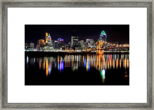 Cincinnati Skyline In Christmas Colors Framed Print