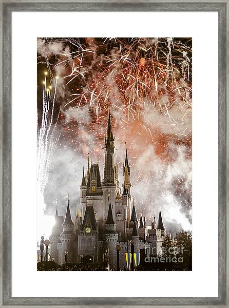 Magic Kingdom Castle Firework Finale Framed Print