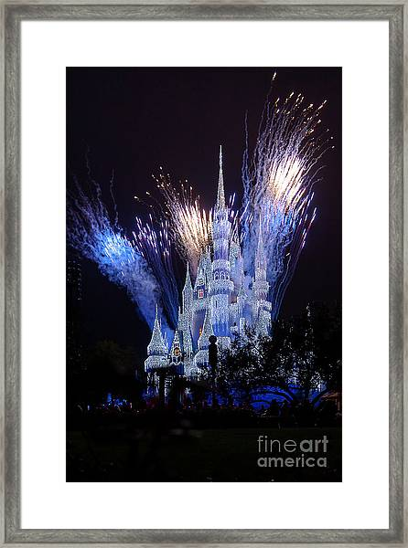 Magic Kingdom Castle Frozen Blue Framed Print