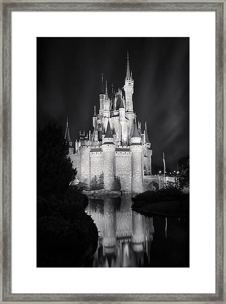 Cinderella's Castle Reflection Black And White Framed Print