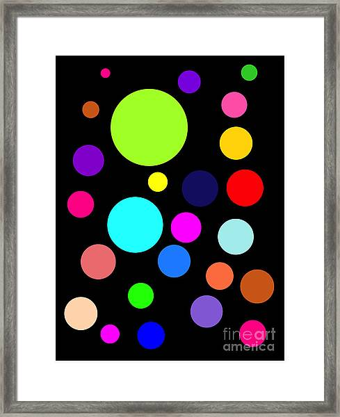 Circles On Black Framed Print