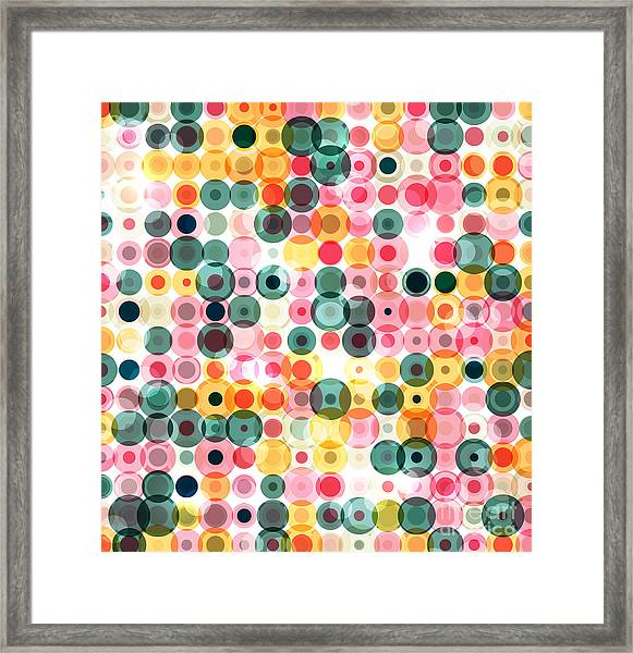 Circles Pattern Retro Background Framed Print by Reuki