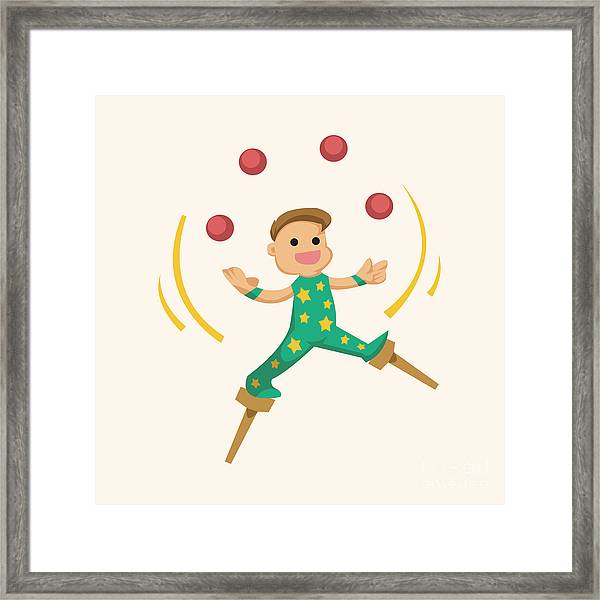 Circus Theme Juggler Elements Framed Print