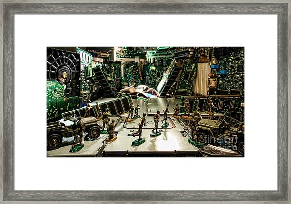 City Cyber Attack  Framed Print