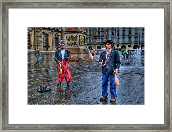 City Jugglers Framed Print