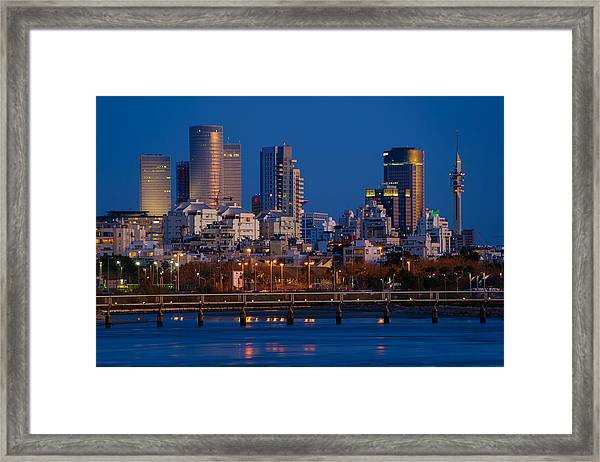 city lights and blue hour at Tel Aviv Framed Print