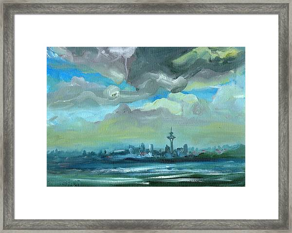 City Skyline Impressionist Painting Framed Print