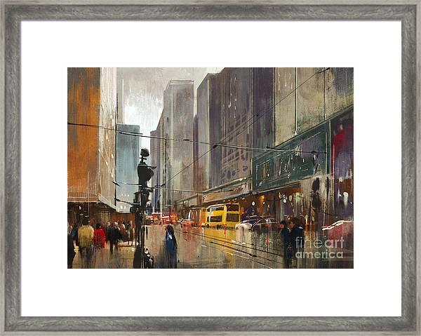 City Street Digital Framed Print by Tithi Luadthong